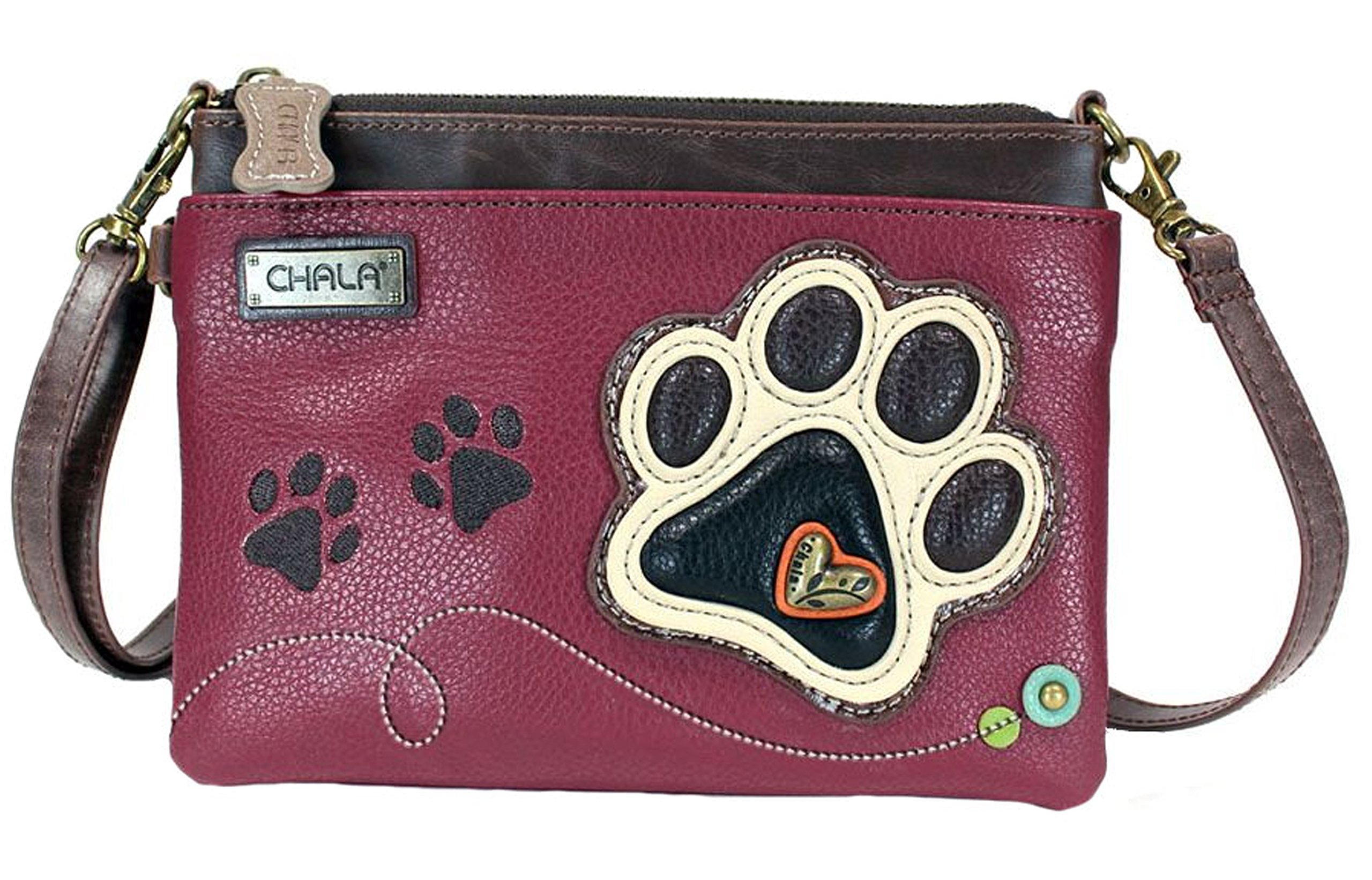 Chala Paw Print Mini Crossbody Handbag Dog Lovers Convertible Straps (Maroon / Ivory)