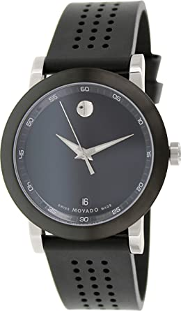 40ec13bdf Image Unavailable. Image not available for. Color: Movado Museum Black Dial  Silicone Strap Men's Watch 0606507