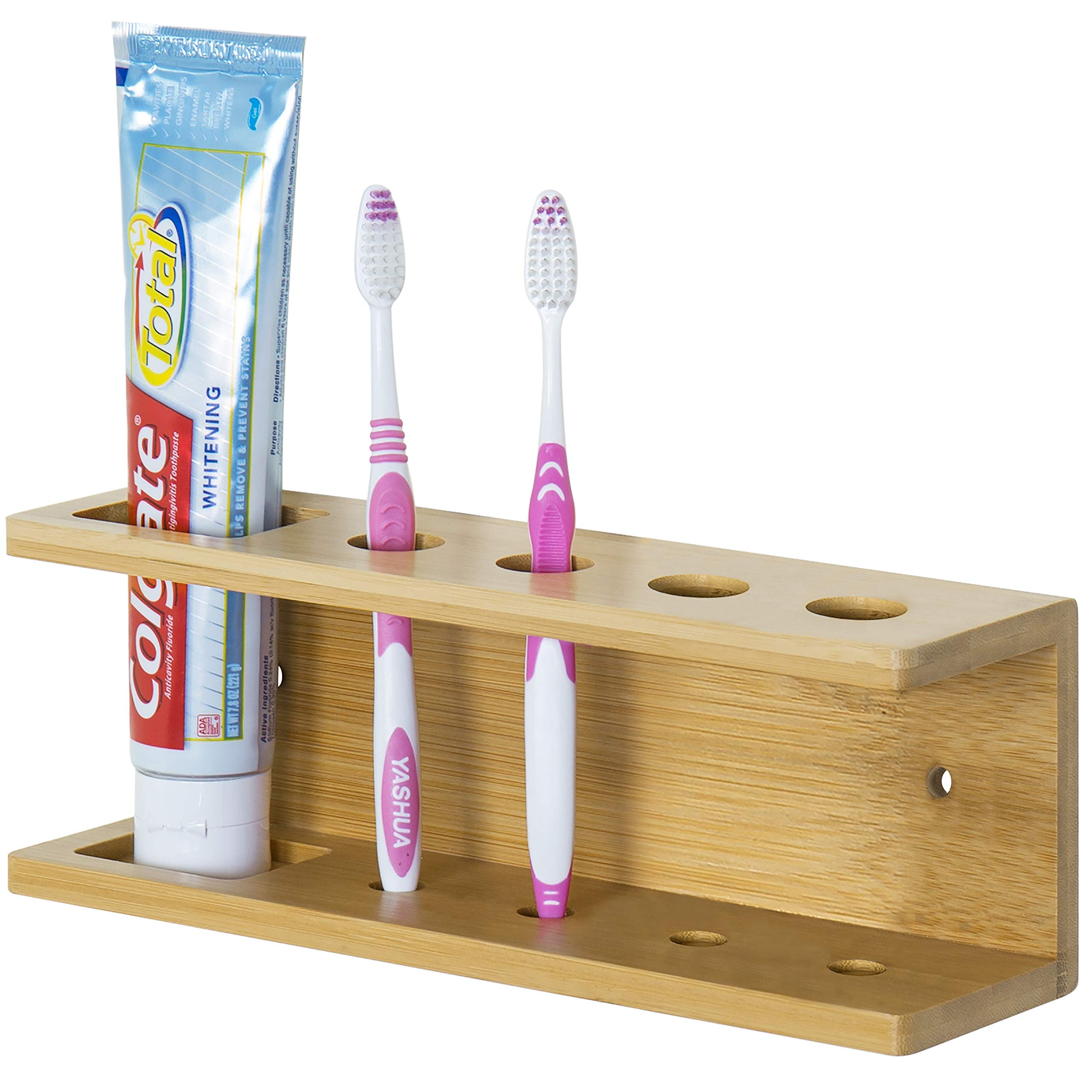 MyGift Wall-Mounted Bamboo Toothbrush & Toothpaste Holder Rack