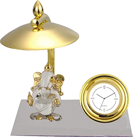 Ganesh Ji Crystal Showpiece Figurine With Umbrella, Classic Table Clock U0026  Metal Base   Brass