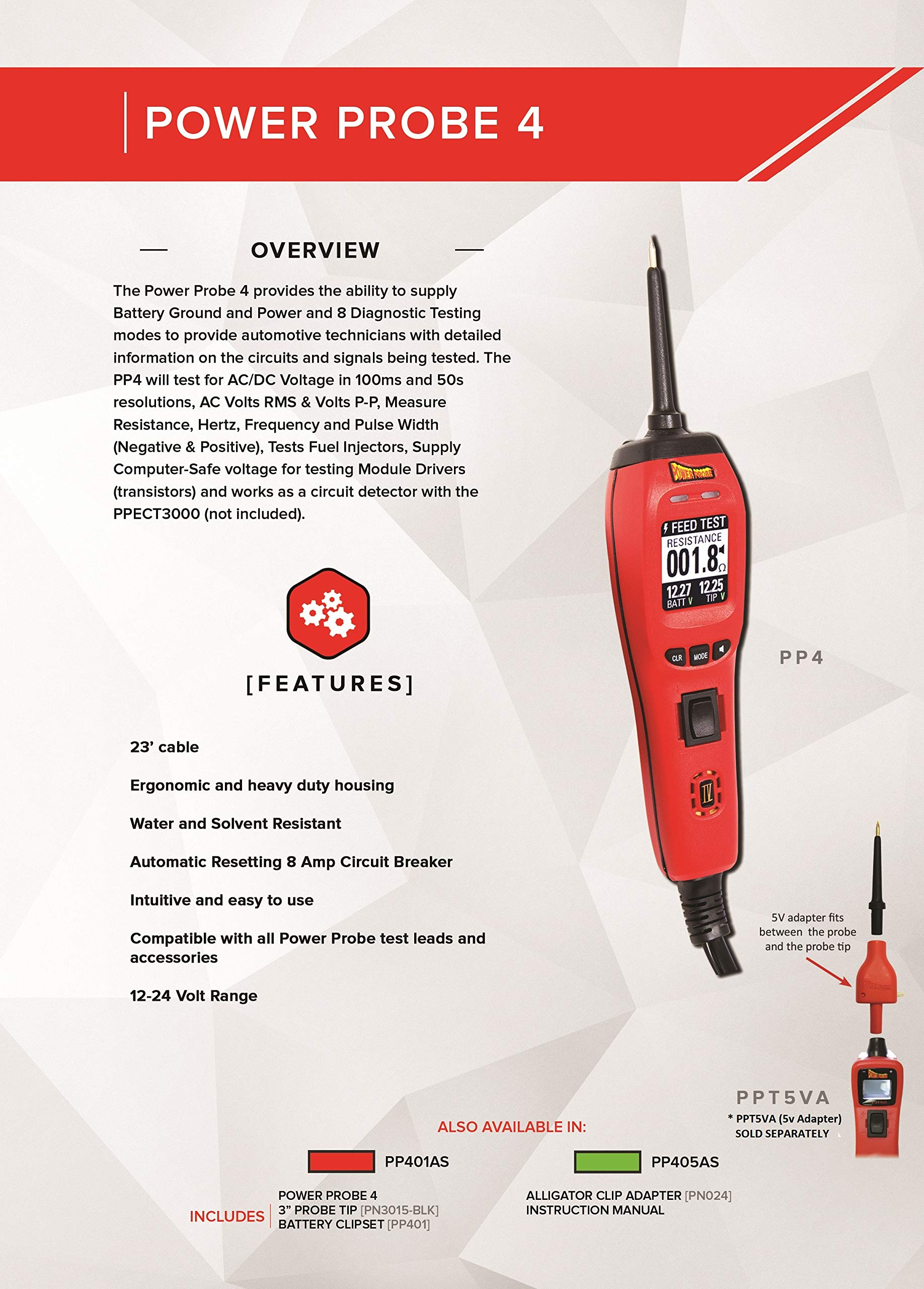 Power Probe IV w/Case & Acc - Red (PP401AS) [Car Diagnostic Test Tool Digital Volt Meter ACDC Current Resistance Circuit Tester Fuel Injector Tester] by Power Probe (Image #6)