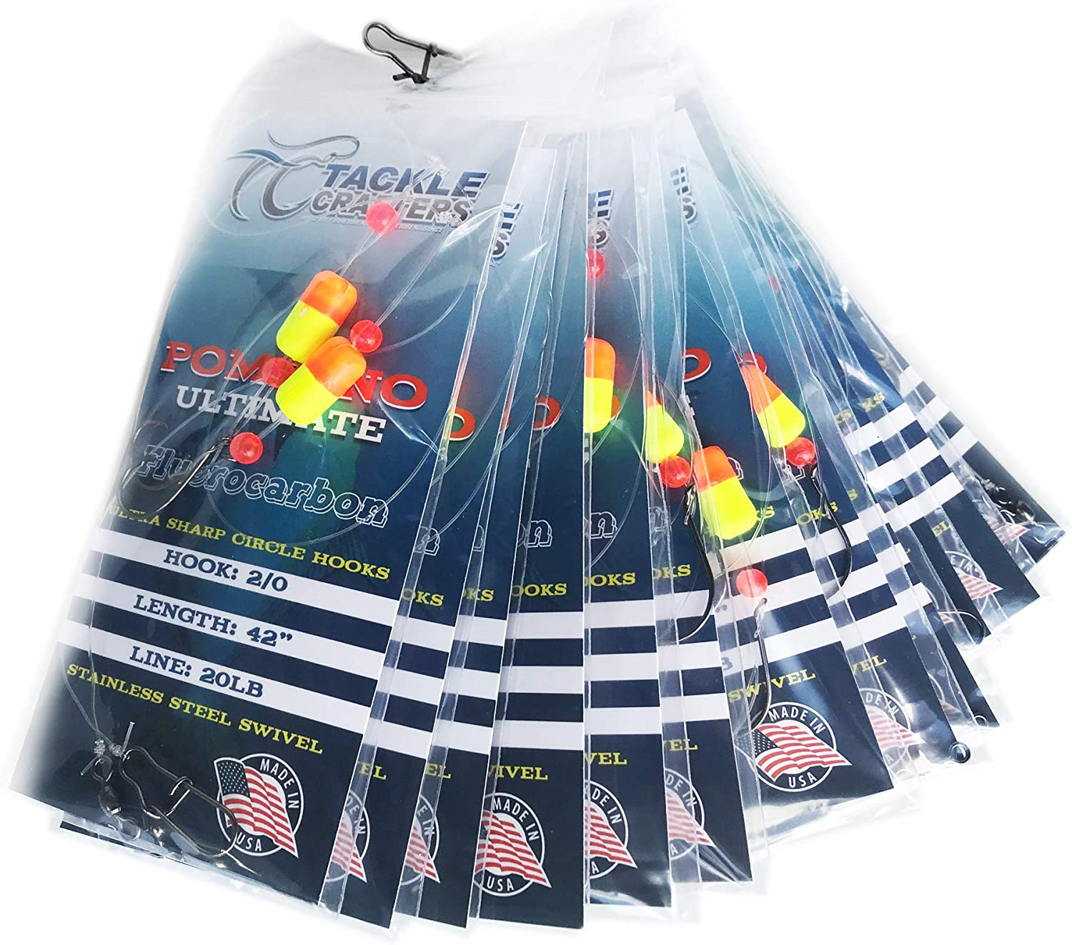 12 Pack Tackle Crafters Pompano Ultimate Surf Fishing Rig Fluorocarbon Fishing Leaders Circle Hook