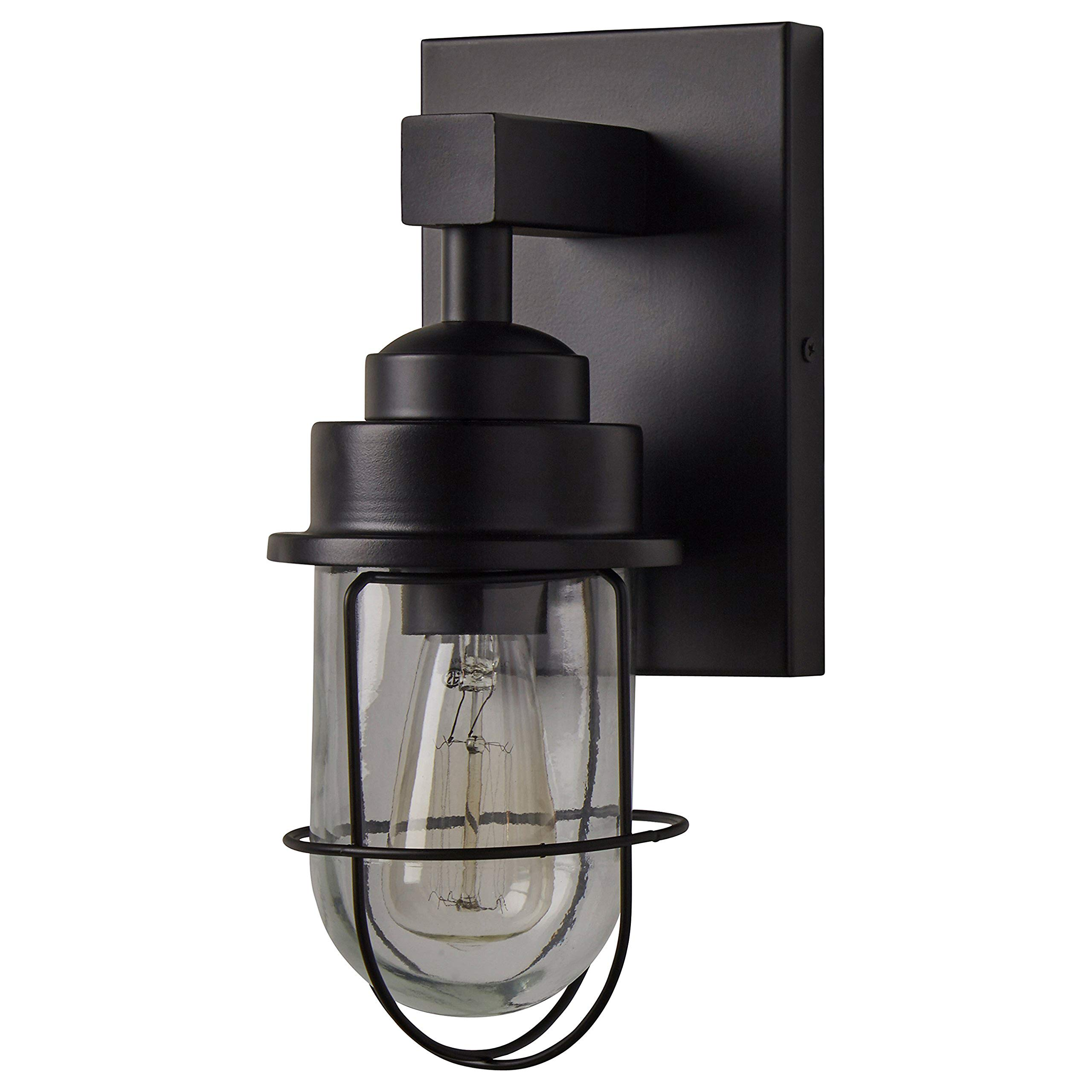 Stone & Beam Jordan Industrial Farmhouse Indoor Wall Mount Cage Sconce Fixture With Light Bulb - 5.5 x 74.75 x 11 Inches, Black