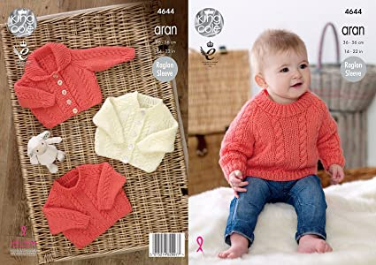 2548164b3 Amazon.com  King Cole Baby Aran Knitting Pattern Raglan Sleeve Cable ...