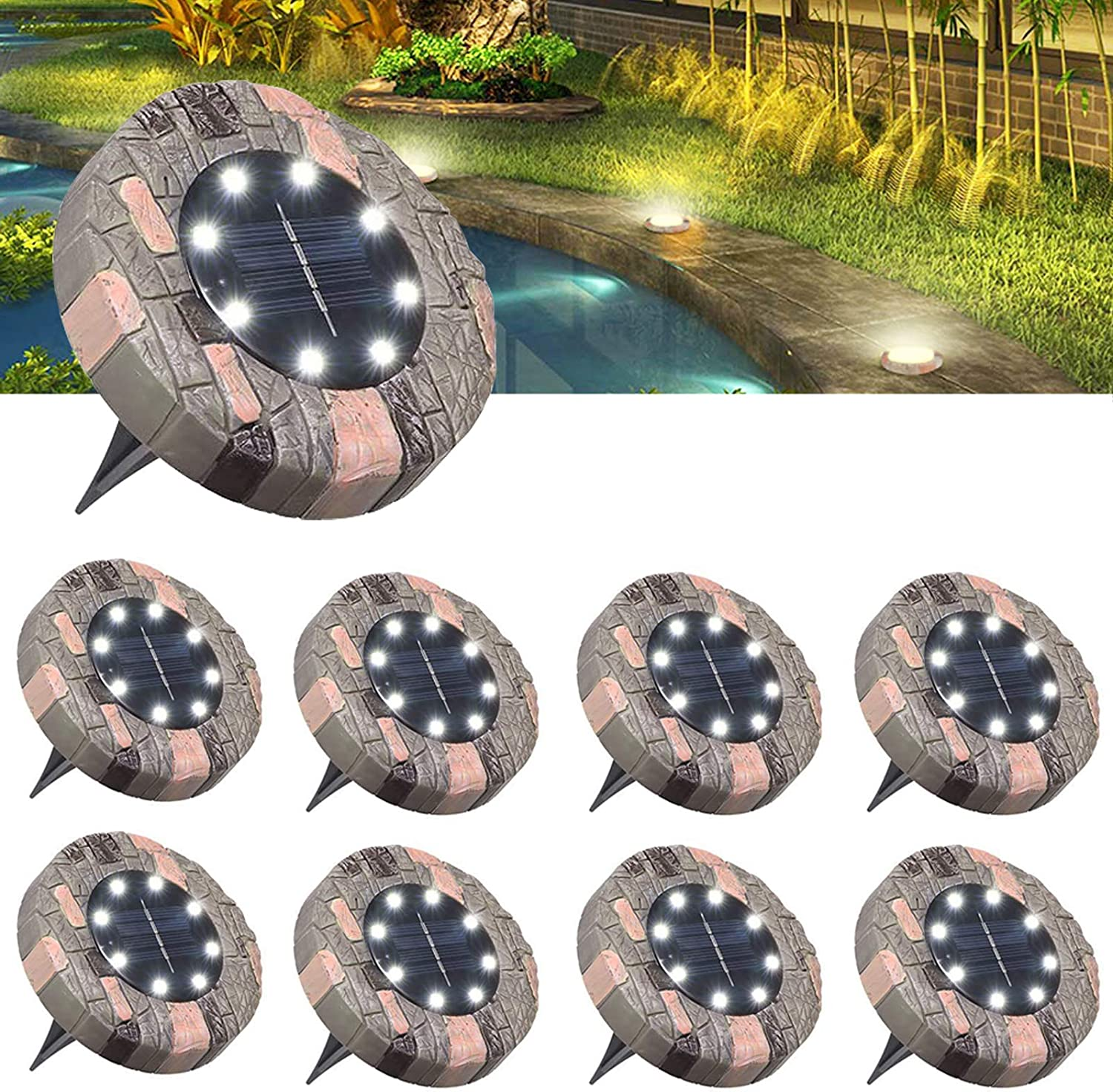 Solar Ground Lights, 8 LED Solar Disk Light Outdoor Garden In-ground Lighting for Patio Landscape, Lawn, Pathway, Yard, Walkway 8 Packs Idefair