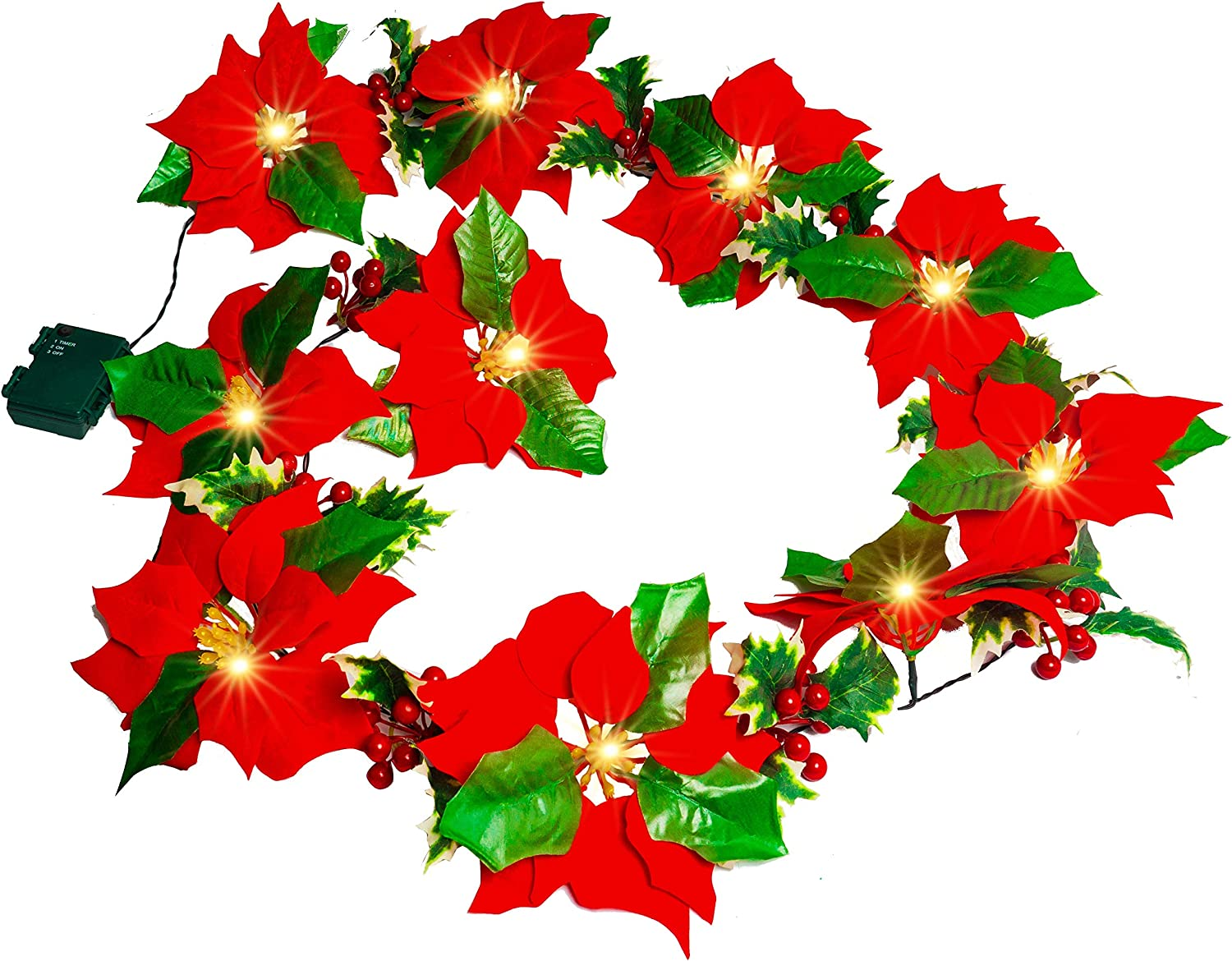 FUNPENY Christmas Poinsettia Garland, 7 FT 10 LED Velvet Artificial Flower Xmas String Lights with Red Berries and Holly Leaves, Christmas Decor Indoor Outdoor Mantle Holiday Decor