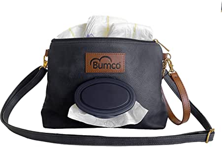 Baby Bumco Crossbody Diaper Clutch Bag -Vegan Leather; Lightweight; Refillable Wipes Dispenser; Portable Changing Kit (Black)