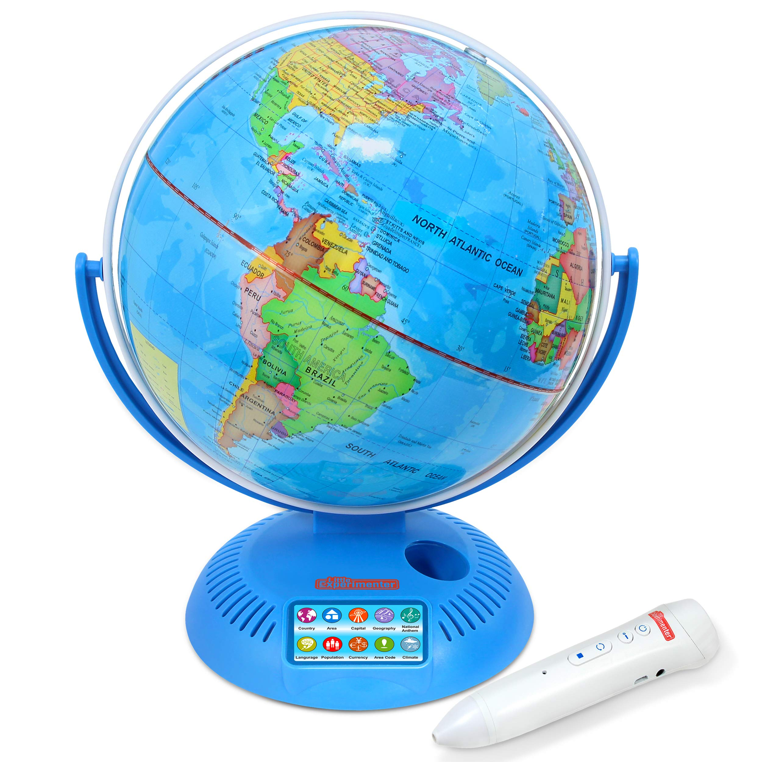 Interactive World Globe with Stand and Smart Pen | Engaging, Colorful Geographic Map for Teaching and Early Learning | Active Play, Voice Recordings, Trivia Questions, 9''