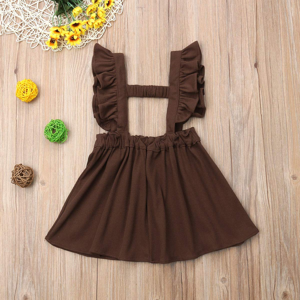 f714805acde Amazon.com  doublebabyjoy Baby Girl One Piece Ruffles Suspender Skirt  Overalls Infant Solid Color Sleeveless Backless Dress Outfit 0-5T  Clothing