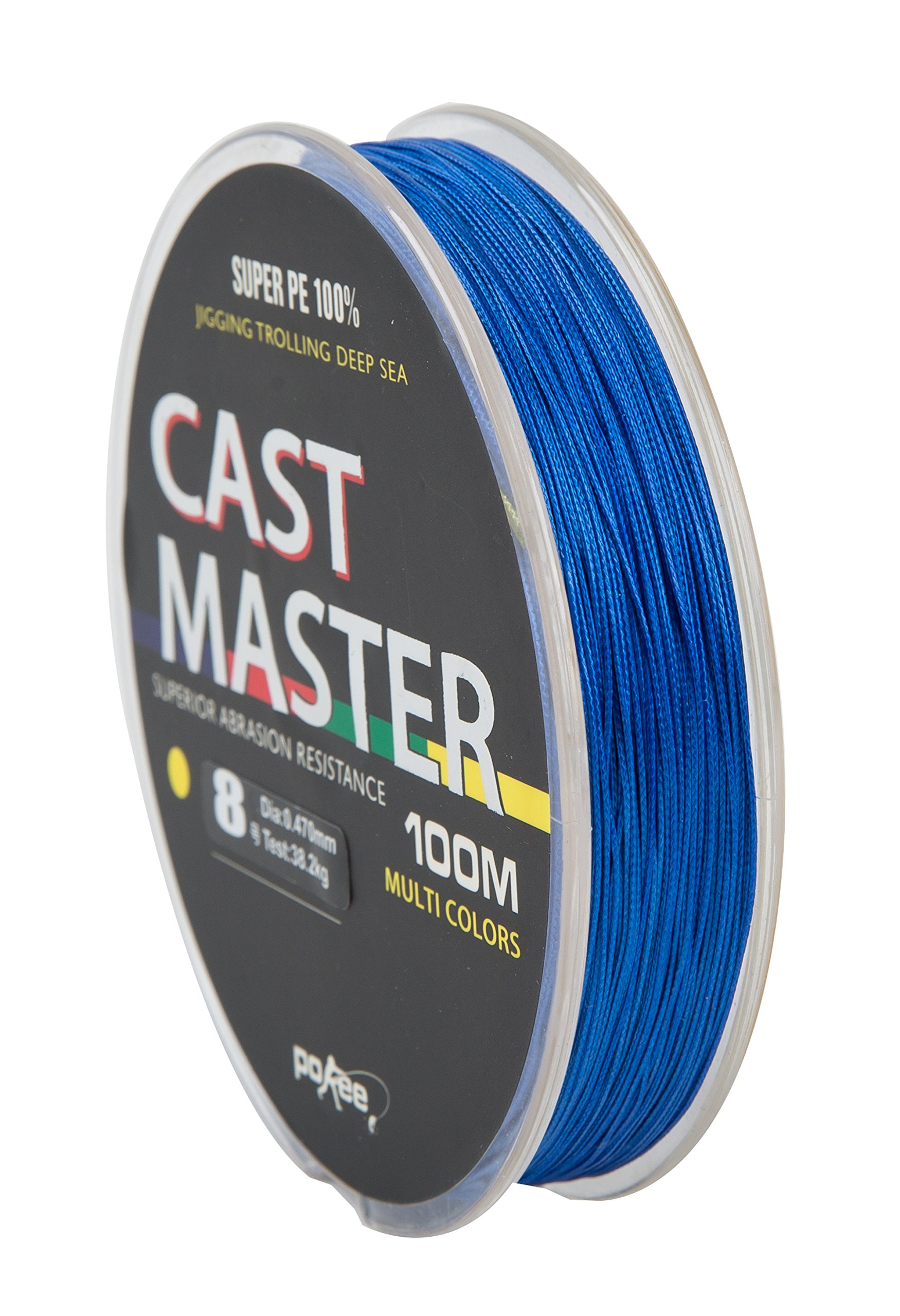 POKEE Super Strong Multifilament 100% PE Braided Fishing Line 110 Yard Blue