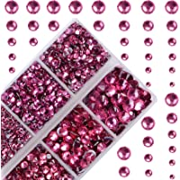 4000Pcs Mixed Size Hot Fix Round Crystals Gems Glass Stones Hotfix Flat Back Rhinestones (Fuchsia)