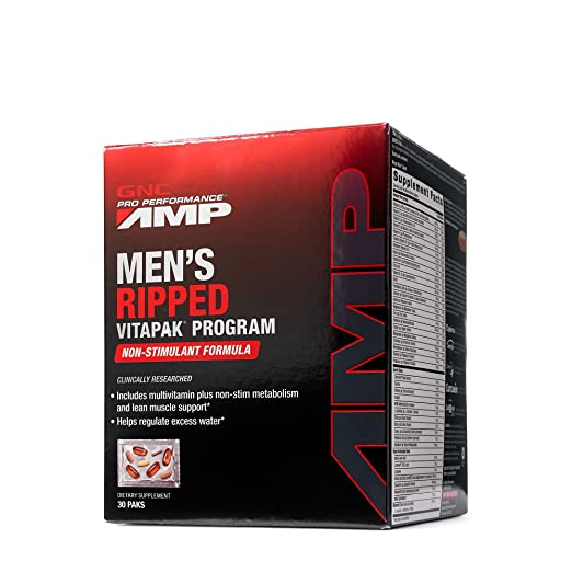 GNC Pro Performance AMP Men's Ripped Vitapak Non-Stimulate, 30 Count