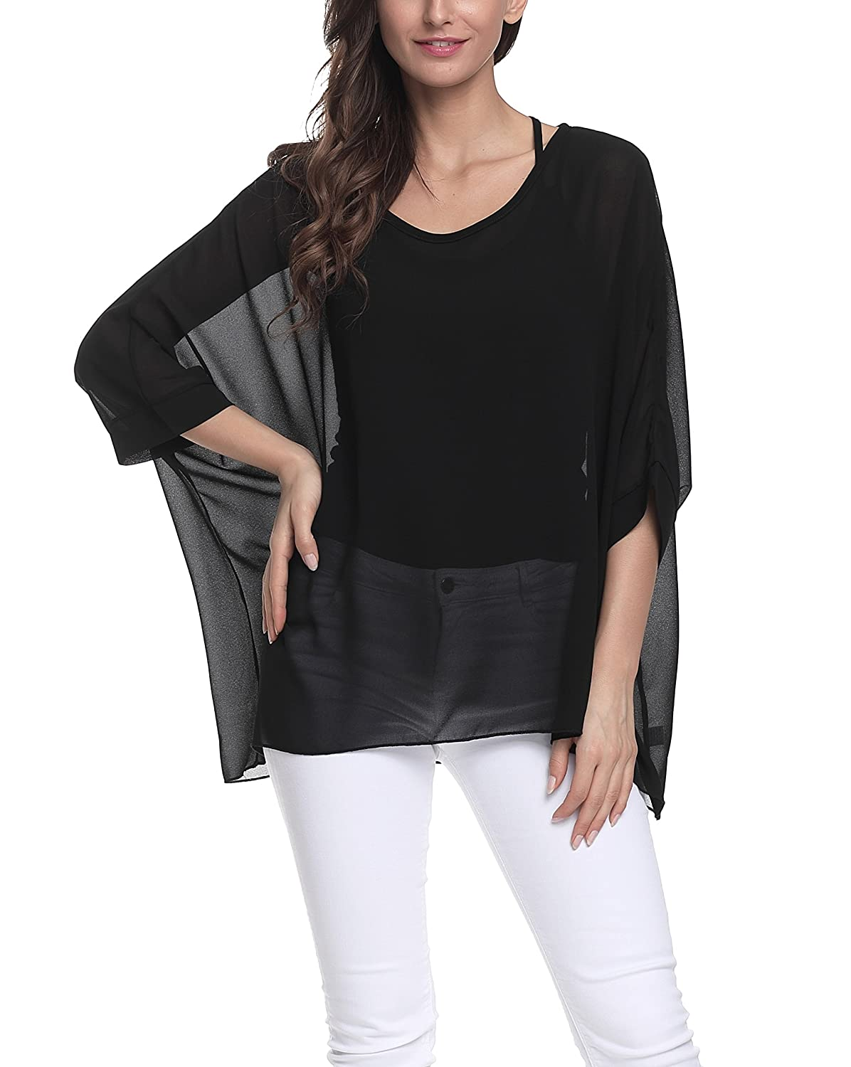0ef361c80351f7 Chiffon 1. Lightweight sheer chiffon poncho tunic top, relaxed fitting,  loose enough for free movement 2. Easy to wash and care, just machine/hand  wash cold ...