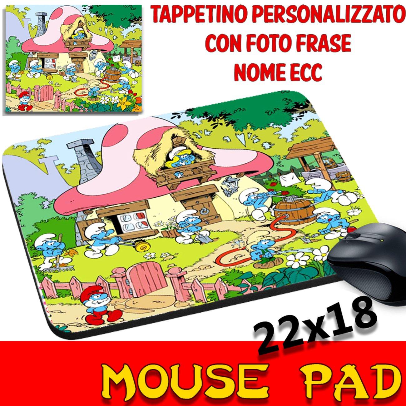 Ratón Pad I Pitufos The Smurf dibujos alfombrilla ratón con nombre personalizado ECC csm Informatica