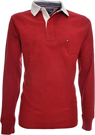 TOMMY HILFIGER Polo rugby, manga larga, cuello, hombre, ajuste ...