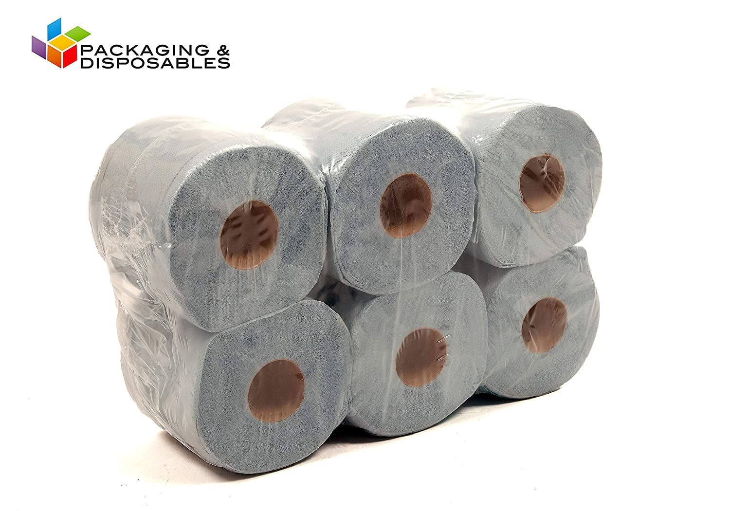 6 x BLUE 2 PLY CENTREFEED PAPER TOWEL ROLLS