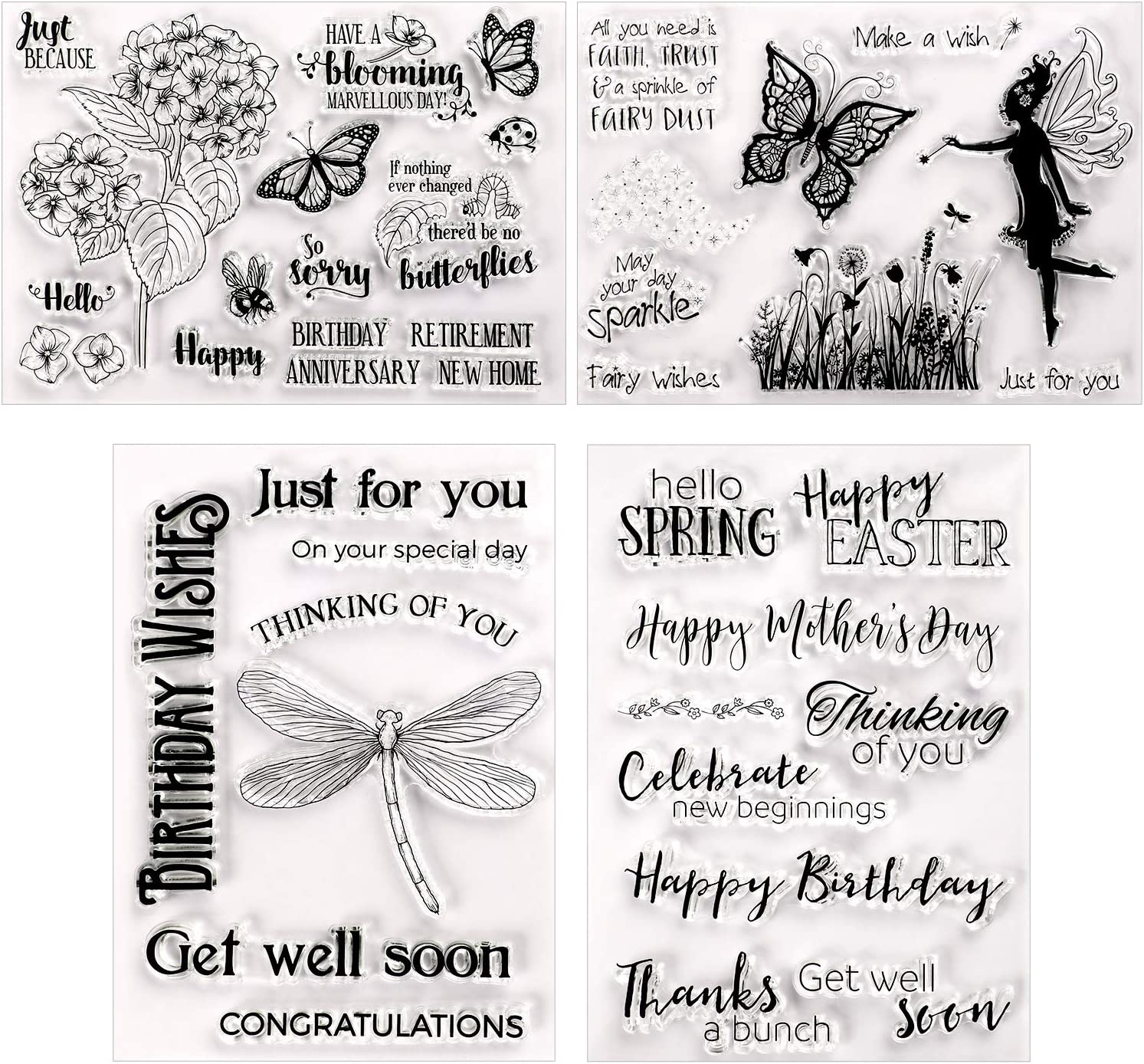 Outus 4 Pieces Clear Stamps Silicone Stamp Cards with Flower, Butterfly, Dragonfly, Greeting Words Pattern for Card Making Decoration and DIY Scrapbooking Embossing Album Decor Craft