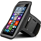 Premium Workout Running Sports GYM Armband Pouch Case for Microsoft Lumia 950 XL / 640 XL / Motorola DROID Turbo 2 / LG V10 (Black)