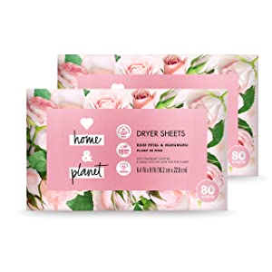 Love Home and Planet Dryer Sheets Rose Petal & Murumuru, 80 Count, Pack of 2