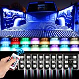SUNJOYCO LED Truck Bed Lights, 8Pods RGB Multi-Color Lighting Kit with 48 Super Bright 5050 SMD LEDs & Wireless Remote…