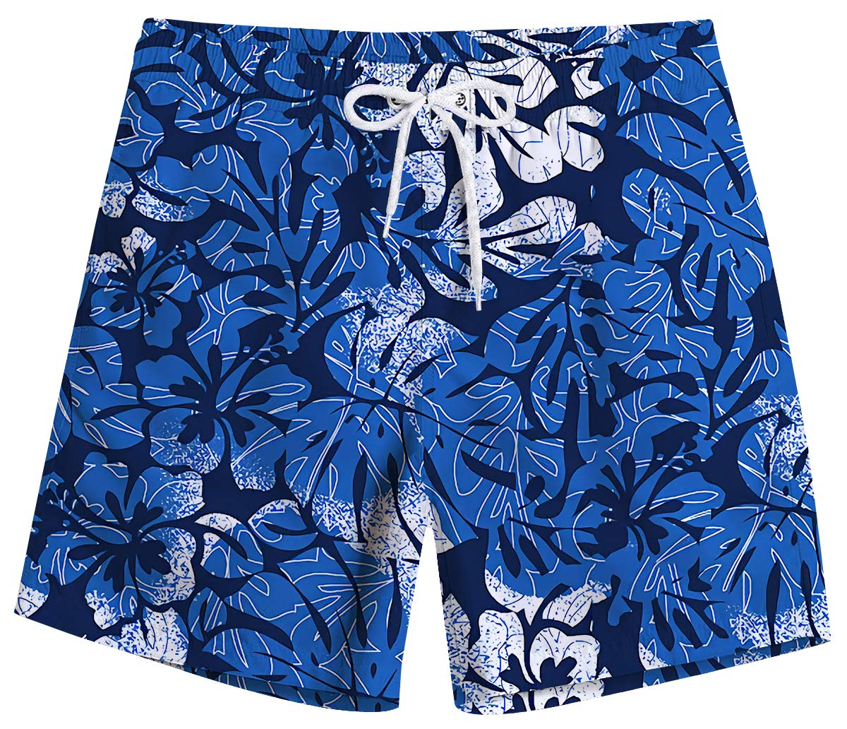 UNICOMIDEA Mens Swimsuits 80s Swim Trunks Blue Floral Printed Swim Board Shorts Slim Fit Quick Dry Board Shorts with Mesh Lining