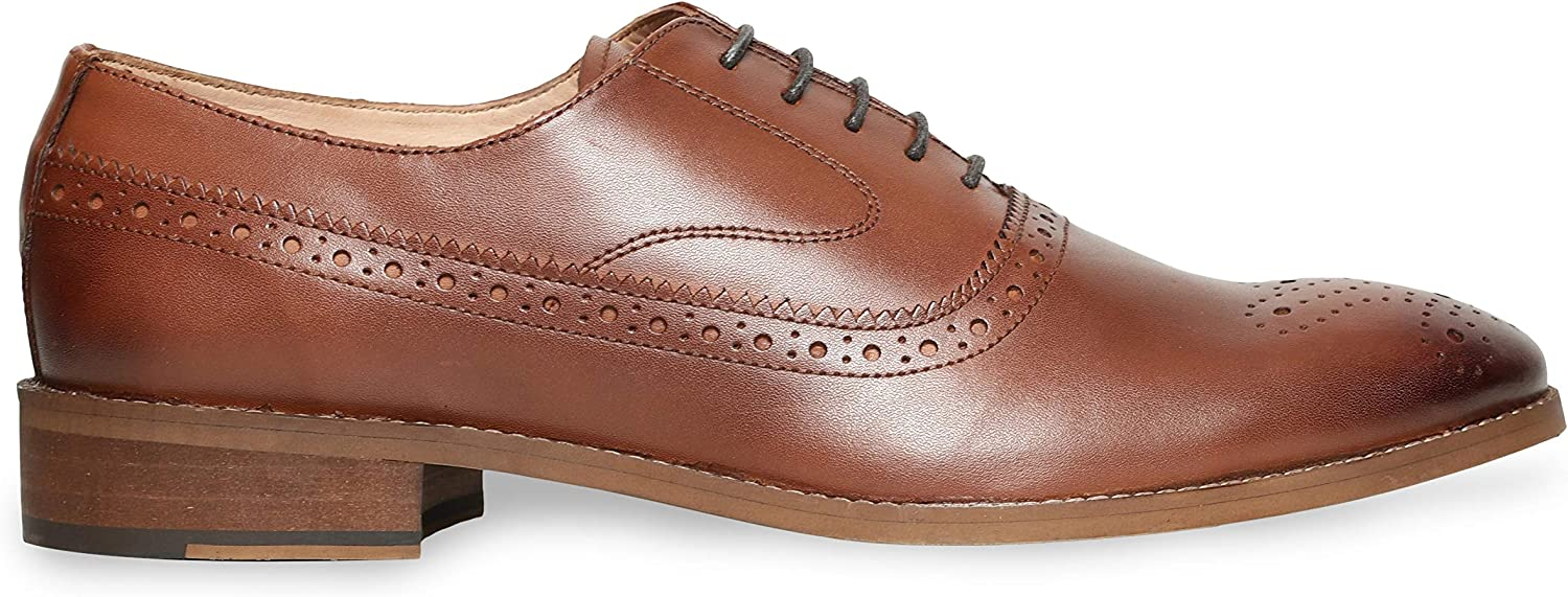 Urbane Shoes Co Genuine Cowhide Leather Shoes Mens Dress Shoes Oxford Shoes Men Perforated Classic Brogue Wing-Tip Lace Up