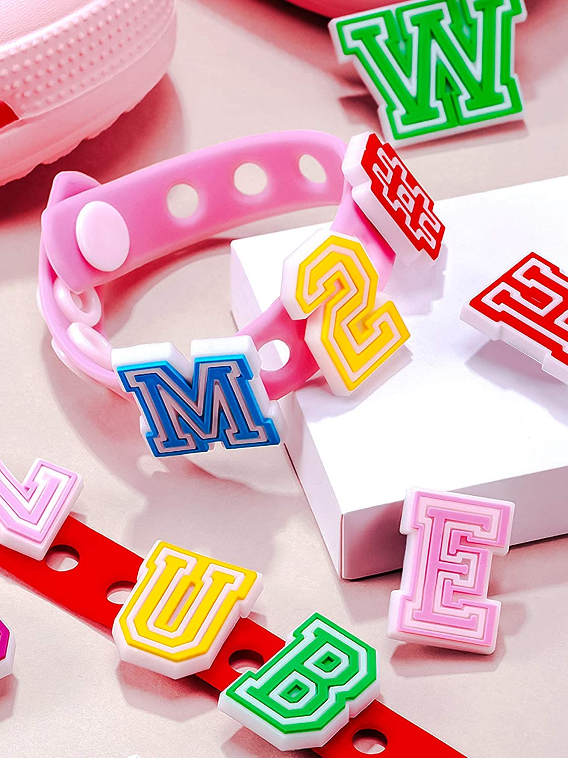 Mixed Bright Colors 37 Pieces Number Letter Shoe Charm Fits for Clog Shoes DIY