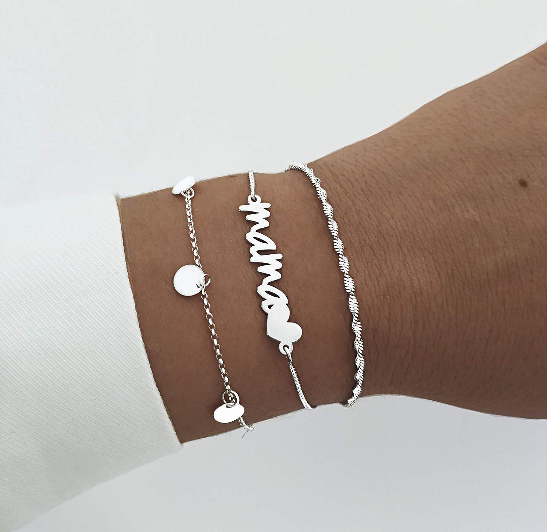 SINGULARU /®Pulsera Mini Moons Plata para Mujer Plata de Ley 925