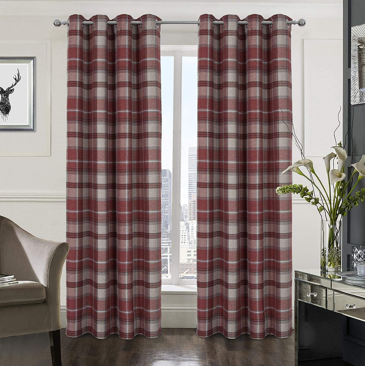 Plaid Tartan Check Modern Classic Window Treatment Curtain/Drapes for Living Room 2 Panels Red 54X84 Inch