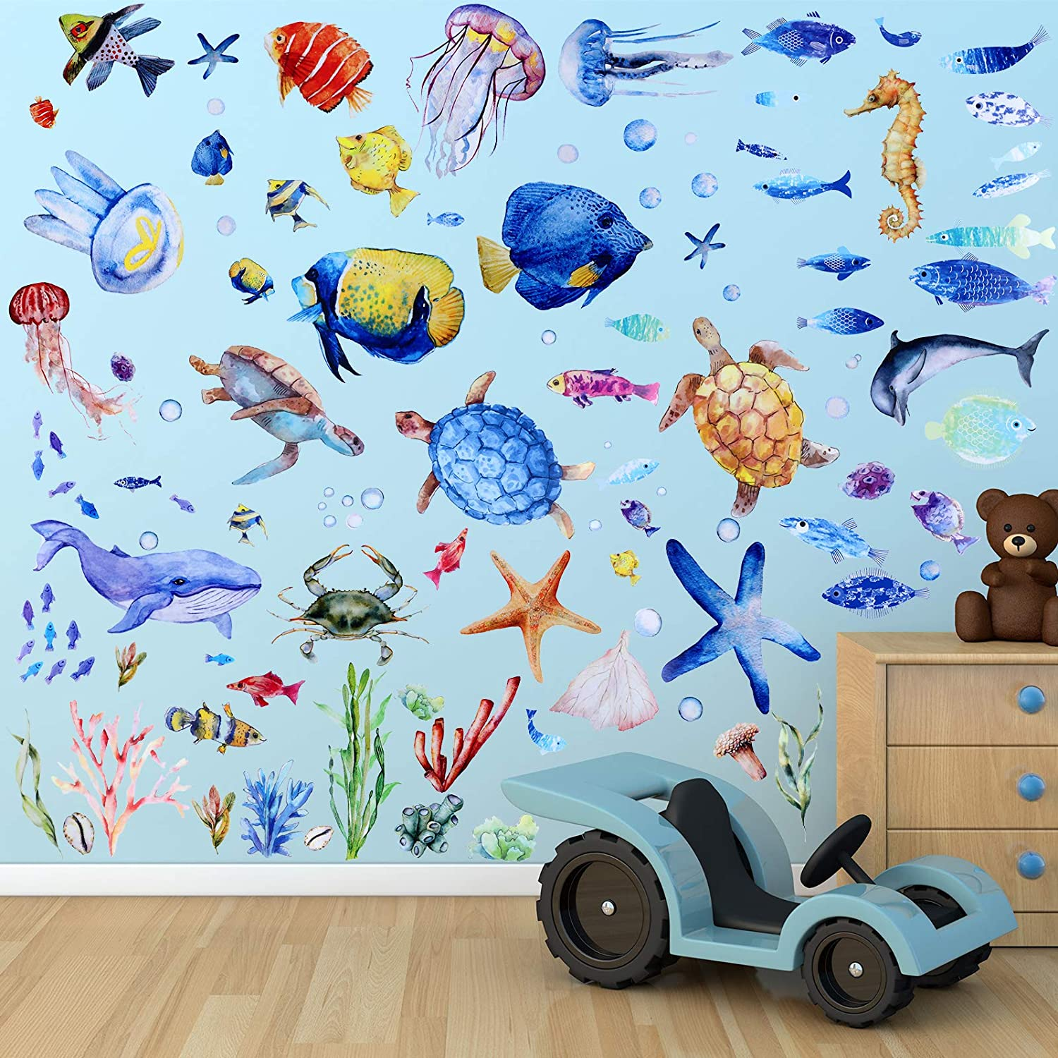 116 Pieces Under The Sea Wall Decals Jellyfish Wall Stickers Fish Ocean Wall Stickers Removable Peel and Sticks for Kids Baby Bedroom Living Room Bathroom Office (Lovely Colors)