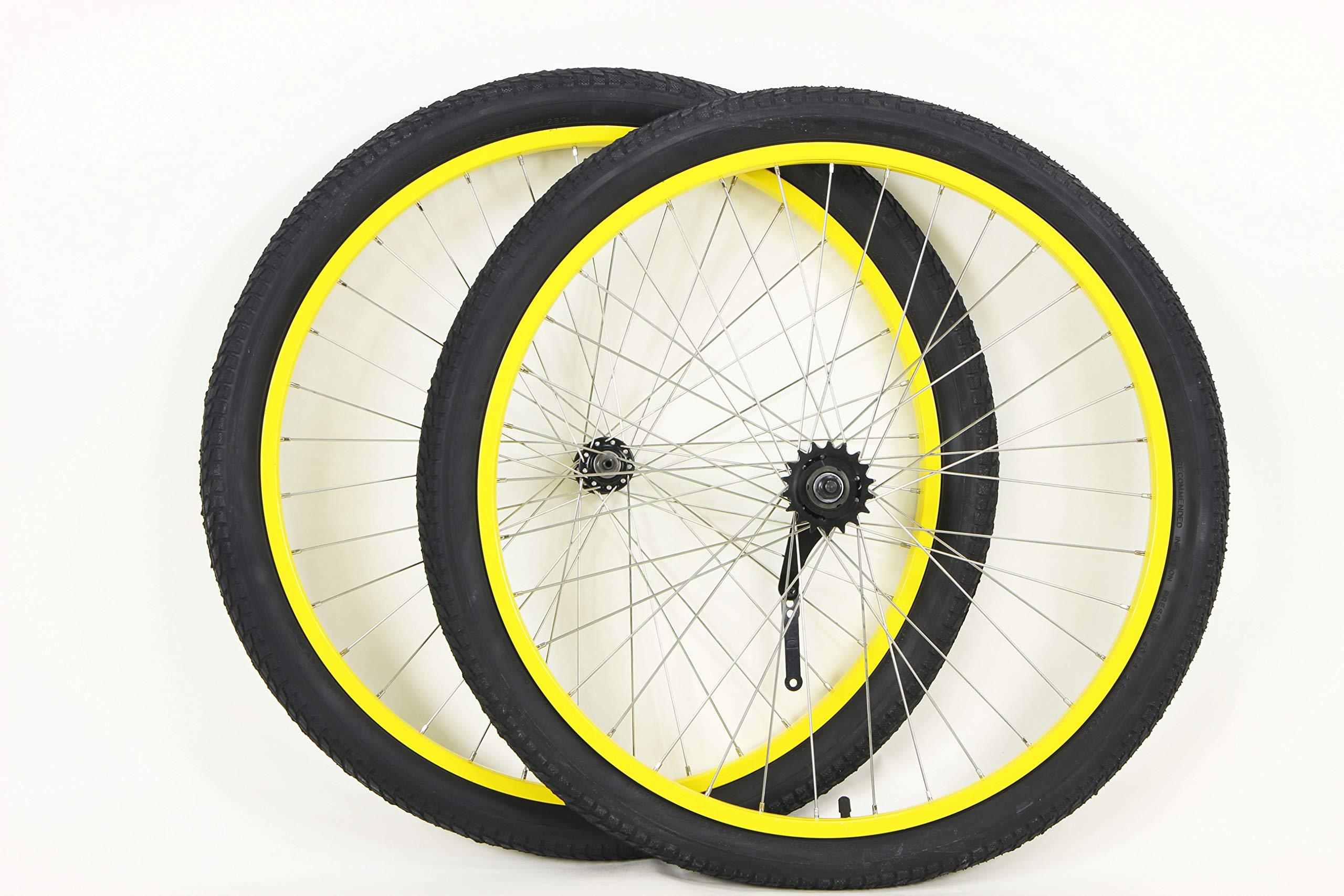 MANGO 26 inch Coaster Brake Wheel Set Beach Cruiser Bike Bicycle with Tires and Tubes! (Black) (Yellow)