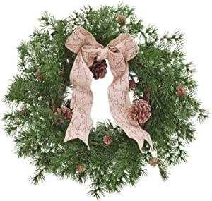 RED DECO Christmas Wreaths for Front Door, 22 Inch Artificial Rustic Pine Wreath for Farmhouse Indoor Outdoor Windows Wall Decor, Winter Christmas Holiday Decorations Ornament