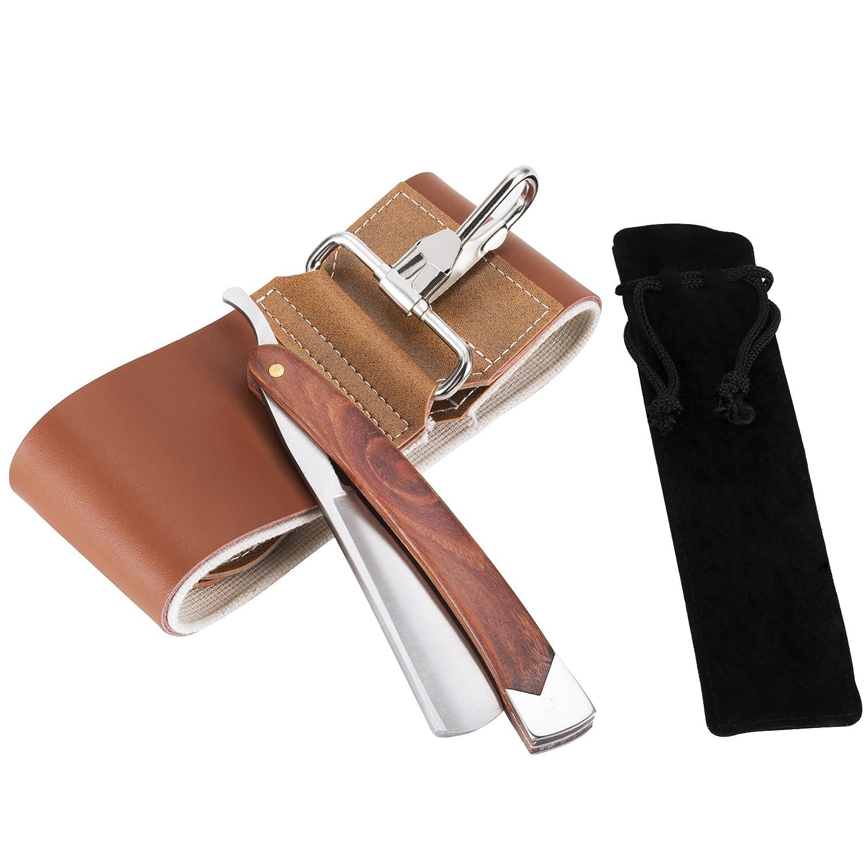 AKUNSZ Kit navaja de Afeitar Tradicional con acero inoxidable Cuchilla de afeitar tradicional recto Peluquería maquinilla de afeitar plegable con Cinturón de afeitar y bolsa Ltd.
