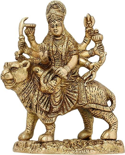 3x1.75x4-Inch Size ShalinIndia Goddess Ma Durga Statue Gold