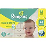 Diapers Size 4 - Pampers Swaddlers Disposable Baby Diapers, 140 Count, Economy Pack Plus