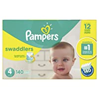 Pampers Swaddlers Disposable Baby Diapers Size 4, Economy Pack Plus, 140 Count