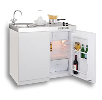 Singleküche miniküche  MEBASA MK0006 Singleküche, Miniküche 100 cm Weiß mit Duo-Ceran ...