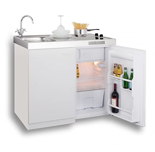 Bekannt MEBASA MK0006 Singleküche, Miniküche 100 cm Weiß mit Duo-Ceran MC07