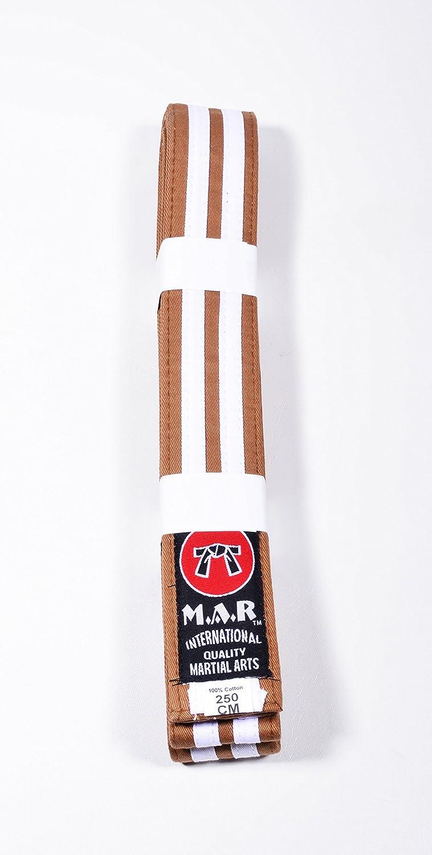 M.A.R International Ltd. MAR Brown & White Stripe Belt -Karate Belts/Judo Belts
