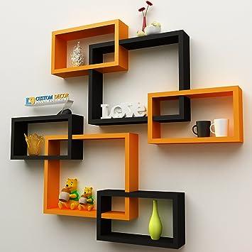 6e6943143fe Custom Decor Wall Shelf Rack Set of 6 Intersecting Floating Shelves -  Storage Wall Shelves for Home - Orange   Black  Amazon.in  Home   Kitchen