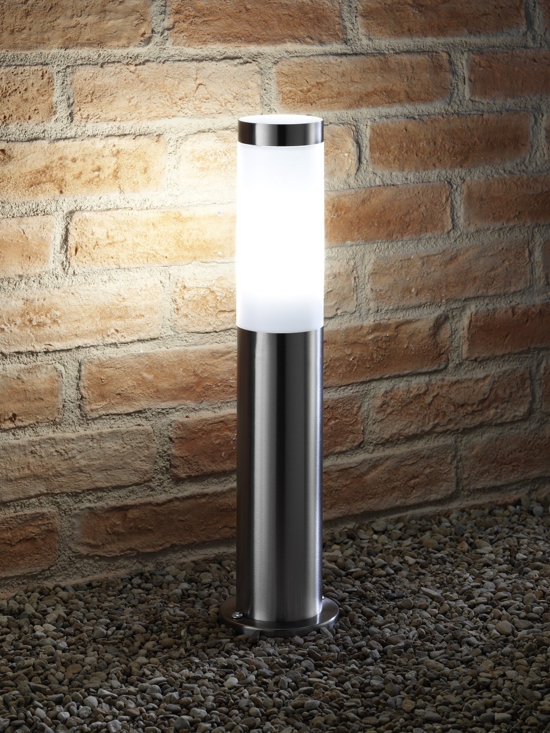 Auraglow Outdoor IP44 Stainless Steel Post Light with 240v Power Outlet Plug Socket - Cool White [Energy Class A+]