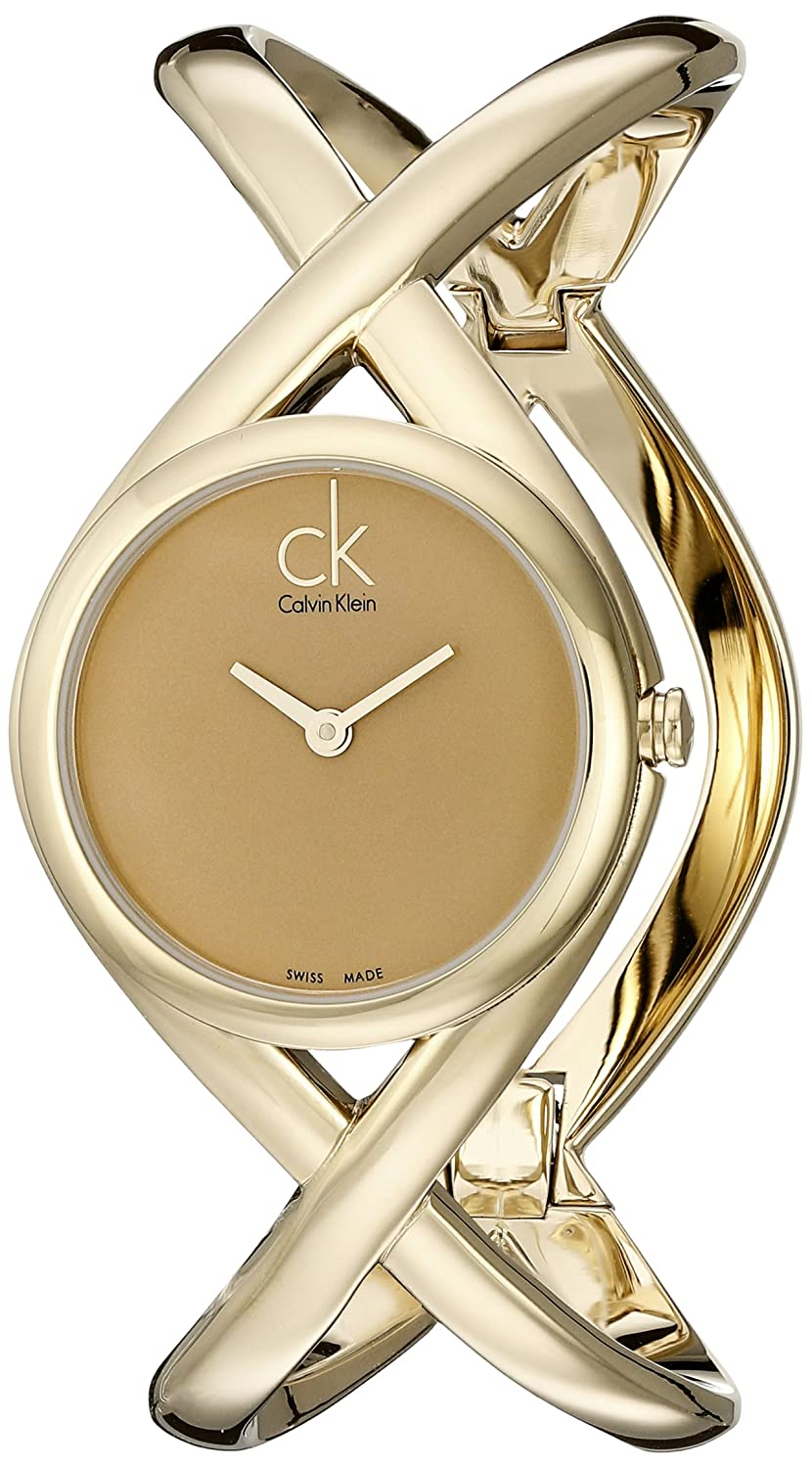 Amazon.com: Calvin Klein Womens K2L24509 Enlace Analog Display Swiss Quartz Gold Watch: Watches