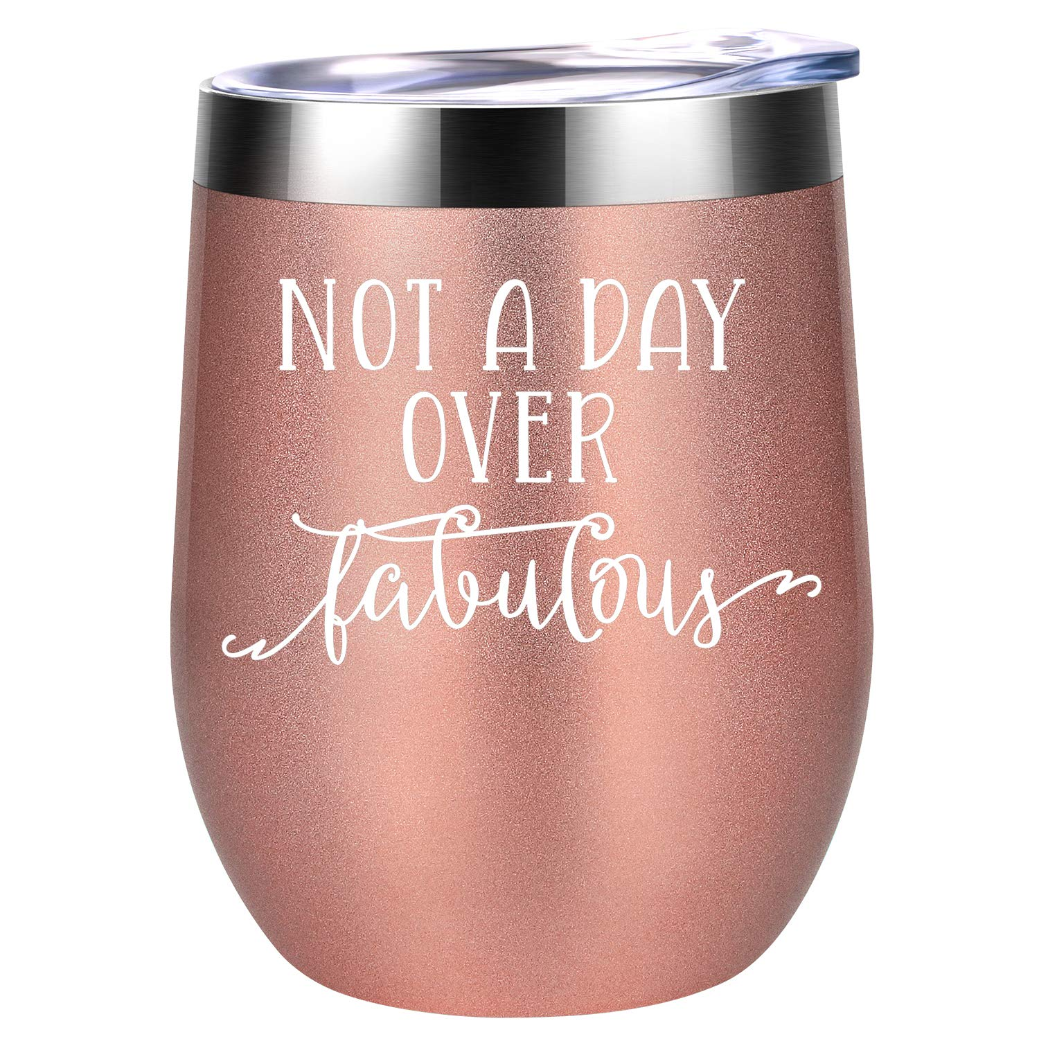 Not a Day Over Fabulous - Funny Birthday Wine Gifts Ideas for Women, BFF, Best Friends, Coworkers, Her, Wife, Mom, Daughter, Sister, Aunt - Coolife 12oz Stemless Insulated Wine Tumbler with Lid by Coolife