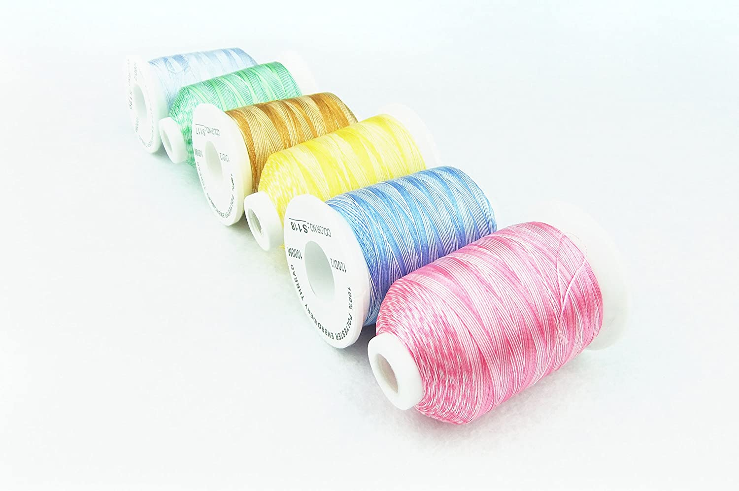 Simthread New 6 Spool Variegated Embroidery Thread for Brother Machines 1100Y 1000M Each Spool Home Embroidery Sewing