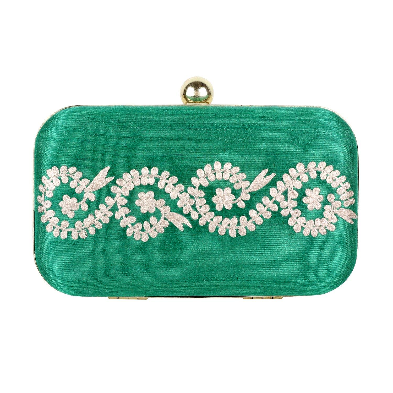 Mystic Frill - Stylish Box Clutch (Green)