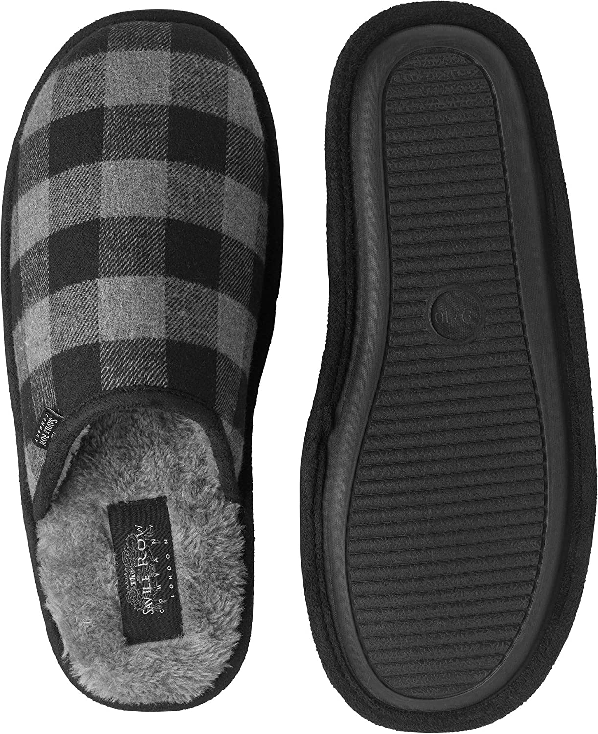 Savile Row Men's Black Check Mule Slippers 7/8