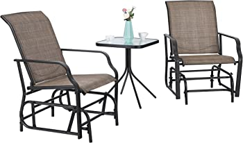 3 Piece PHI VILLA Patio Swing Glider Bistro Set With 2 Chairs And 1 Table