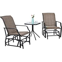 PHI Villa 3 PC Patio Swing Glider Sets with 2 Rocking Chairs & 1 Table Brown