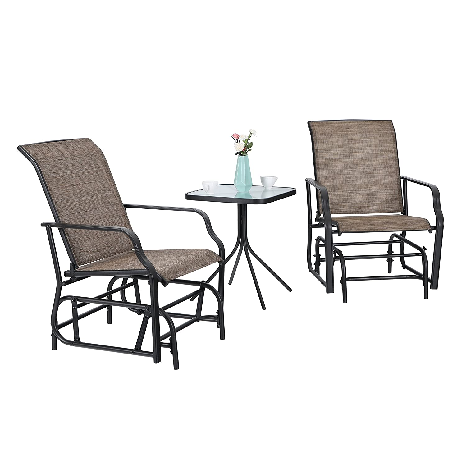 Amazon com phi villa patio swing glider set 3 pc bistro set with 2 rocking chairs 1 table brown garden outdoor
