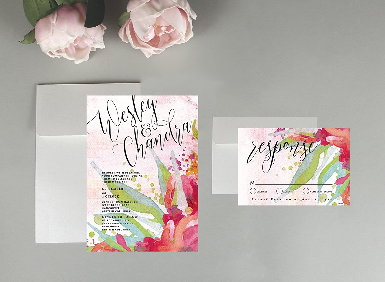 Amazon.com: Floral wedding invitations, wedding invitations, water ...